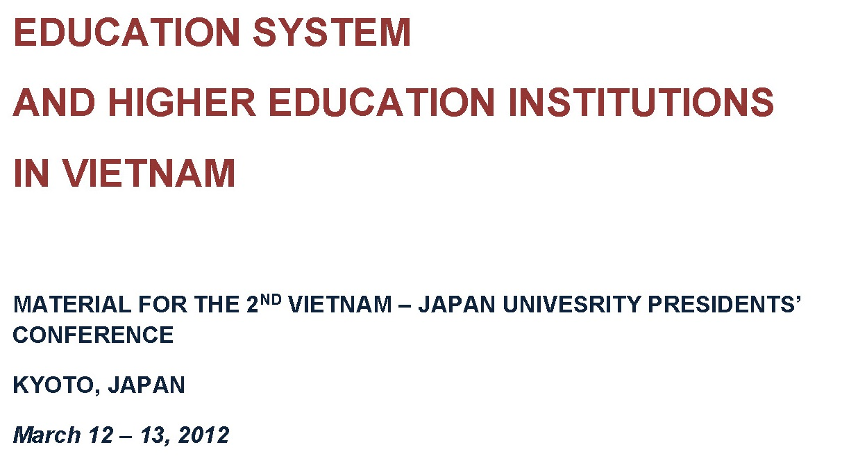 Higher Education and Institutions in Vietnam